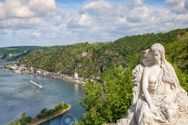 Loreley figure and  Rhine valley Landscape and Sankt Goarshausen