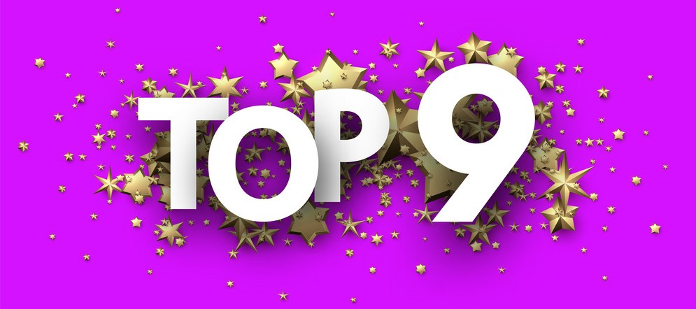 Top 9 sign with gold stars. Rating header.